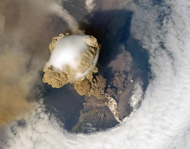 Sarychev Volcano erupting